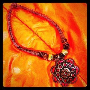 Jewelry - Boho Styled Pendant w Thread Necklace & Beads